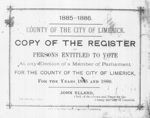 1885 Register of Electors, Limerick, title page